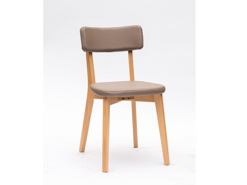 Eco-leather chair and wooden structure CLARA | Eco-leather chair by La seggiola