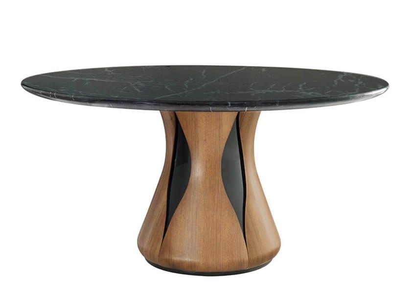 Tavolo da pranzo rotondo in marmo e legno CLARA by HC28
