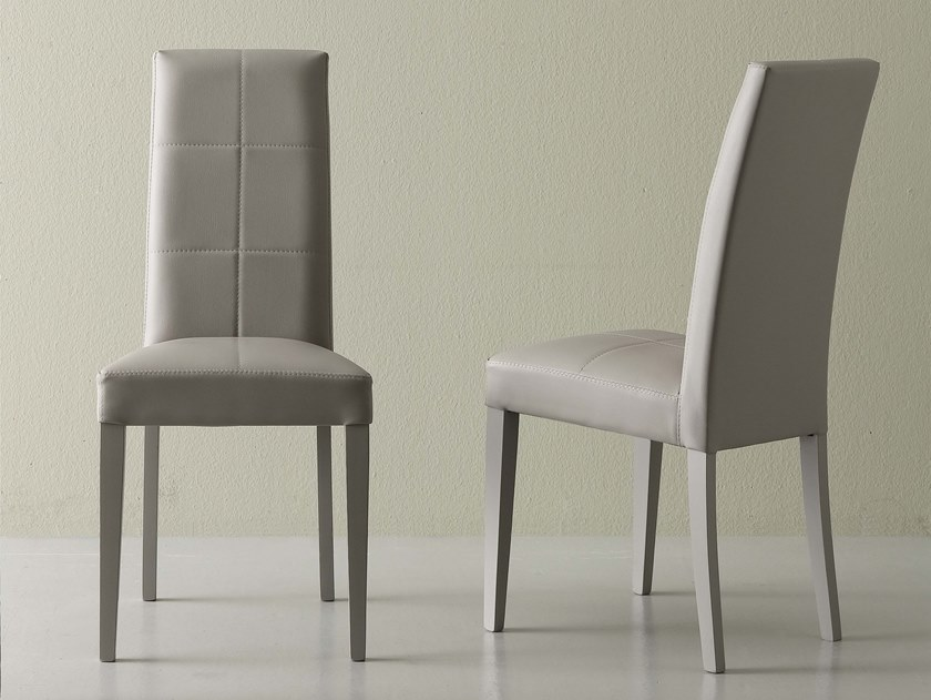 Upholstered Eco-leather chair CLASS by La seggiola