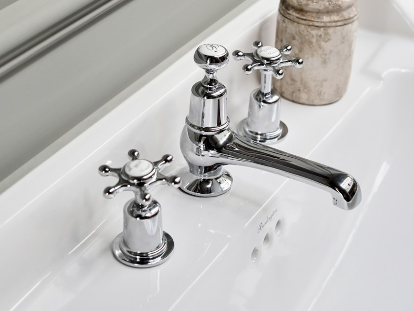3 hole countertop washbasin tap with pop up waste CLAREMONT | 3 hole washbasin tap by Burlington Bathrooms