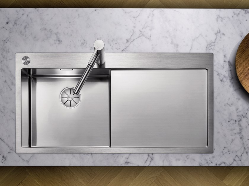Contemporary style single built-in stainless steel sink with drainer BLANCO CLARON 5 S-IF by Blanco