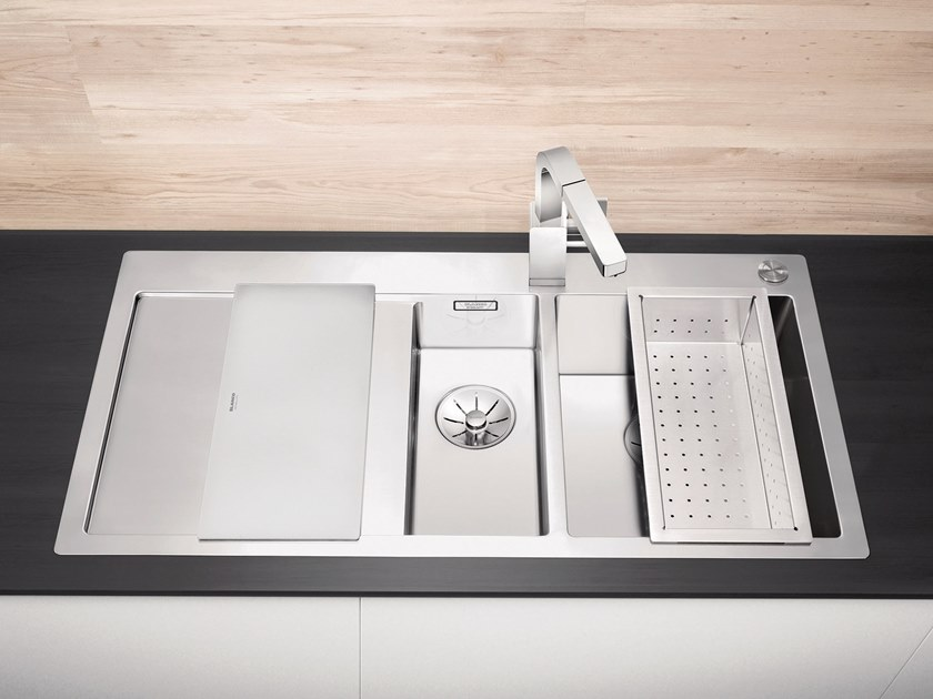 Lavello a una vasca e mezzo filo top in acciaio inox con sgocciolatoio BLANCO CLARON 6 S-IF by Blanco