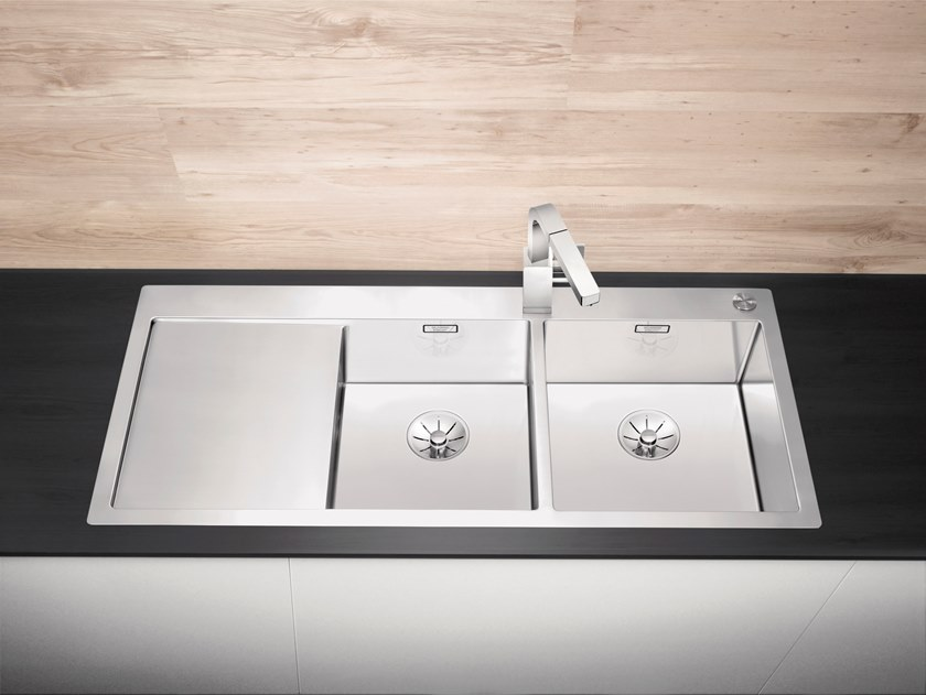 2 bowl flush-mounted stainless steel sink with drainer BLANCO CLARON 8 S-IF by Blanco