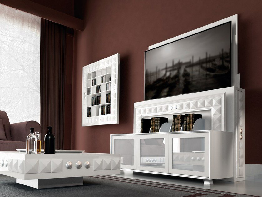 Motorized Wooden TV Cabinet With Cable Management CLASSIC LIFT By Vismara  Design