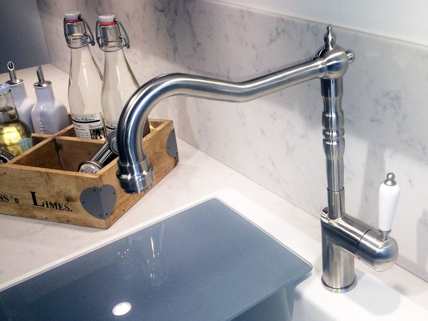 Brushed-finish stainless steel kitchen mixer tap CLASSIC LINE CL-100 by Nivito