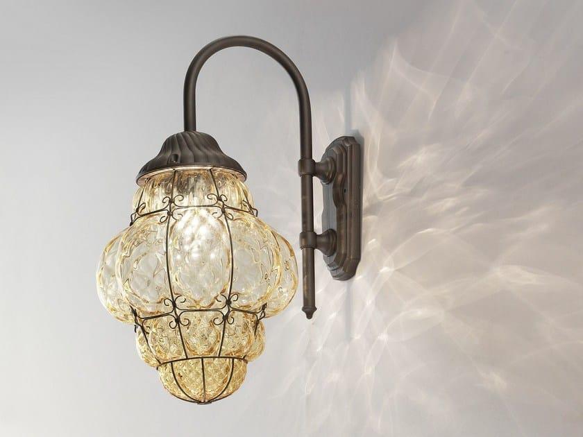 Lampada da parete per esterno in vetro di murano classic eb siru