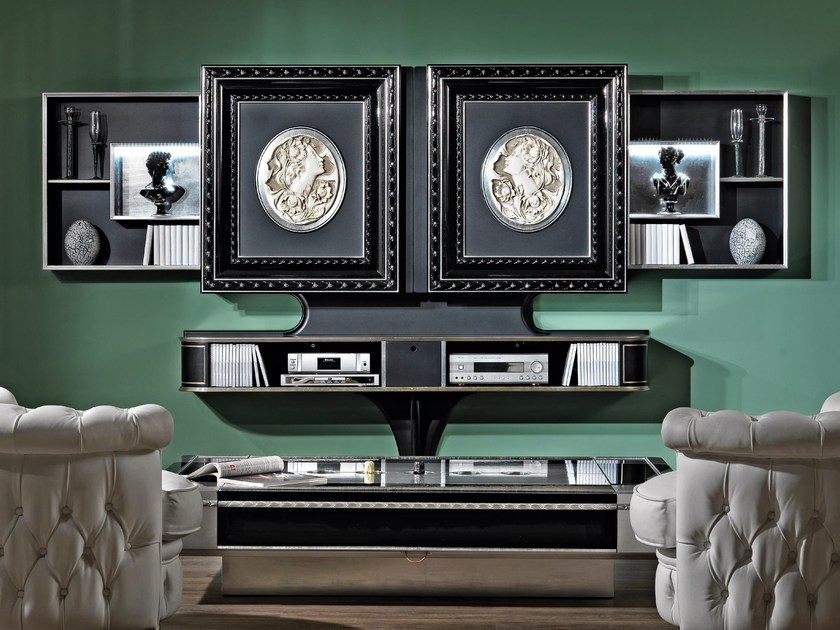 Lacquered Motorized Wooden Tv Cabinet With Sliding Doors Classic
