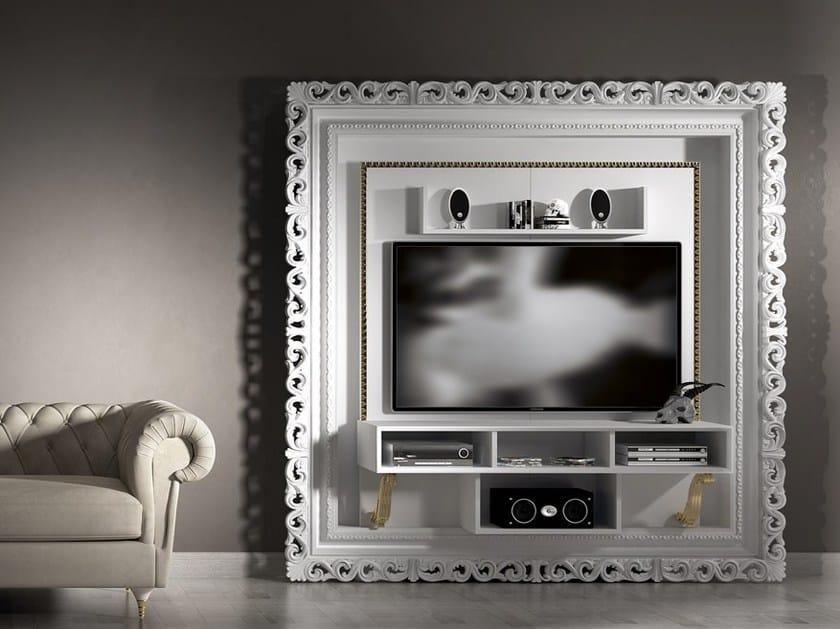 Parete Mobili Porta Tv Design.Parete Attrezzata Laccata In Legno In Stile Barocco Con Porta Tv
