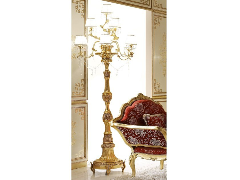 Gold leaf floor lamp with crystals CLASSICO | Floor lamp by Andrea Fanfani