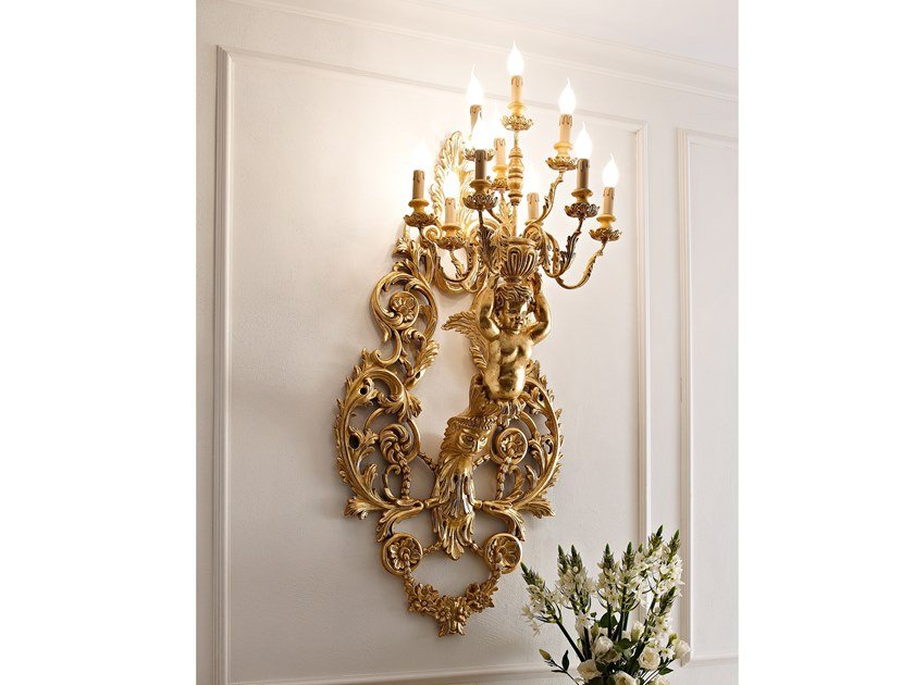 Gold leaf wall lamp CLASSICO | Gold leaf wall lamp by Andrea Fanfani