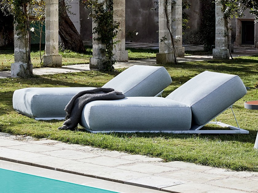 Recliner fabric garden daybed CLAUD | Garden daybed by Meridiani