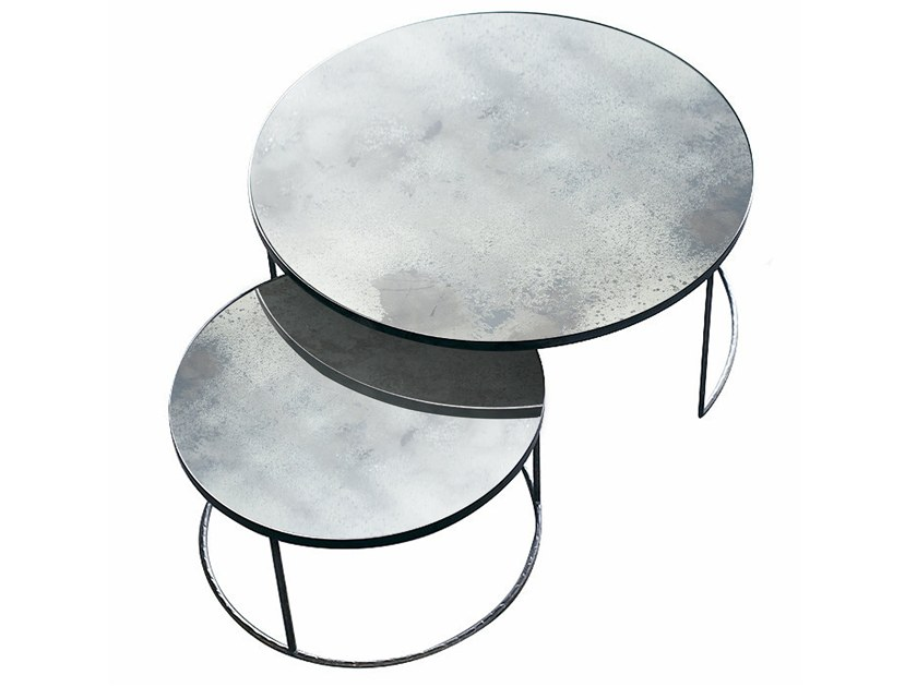 Round mirrored glass coffee table CLEAR NESTING COFFEE TABLE SET by Notre Monde