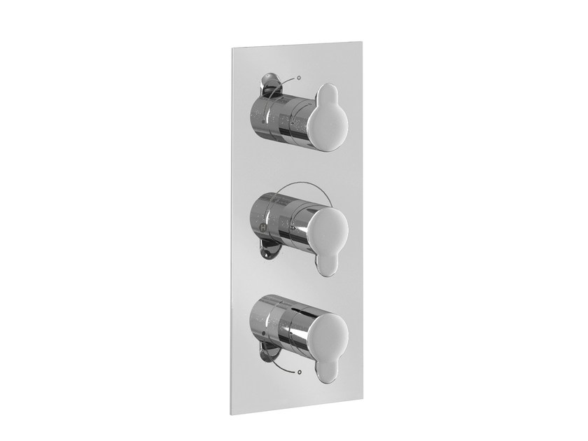 3 hole thermostatic shower mixer with plate CLEARGREEN - V52 by Polo