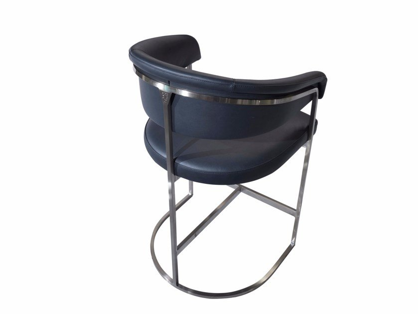 High upholstered leather stool with back CLEM by Visionnaire