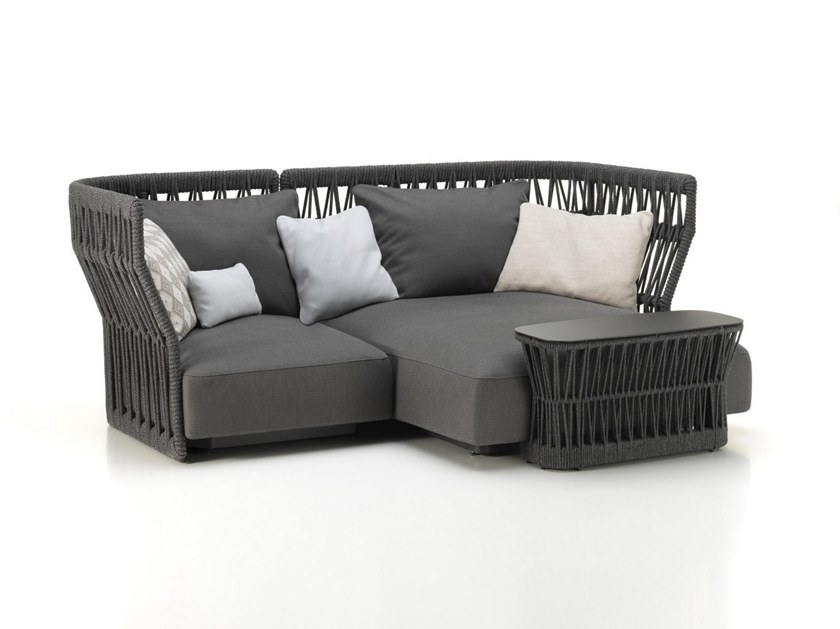 Fabric garden sofa with chaise longue CLIFF | Garden sofa with chaise longue by Talenti