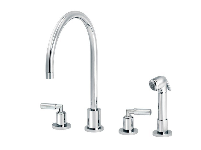 Kitchen mixer tap with pull out spray with individual rosettes CLIFF | Kitchen mixer tap with pull out spray by rvb