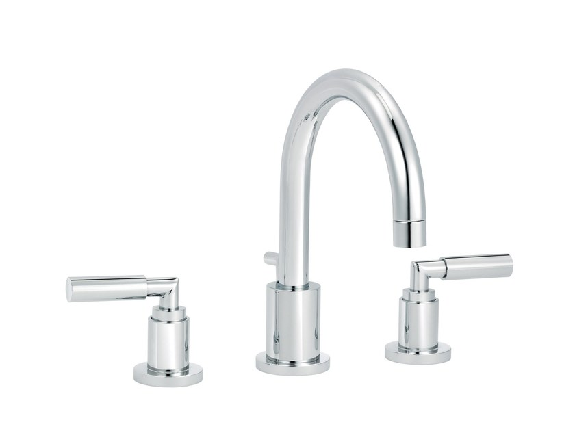 3 hole washbasin mixer with automatic pop-up waste CLIFF | Countertop washbasin mixer by rvb