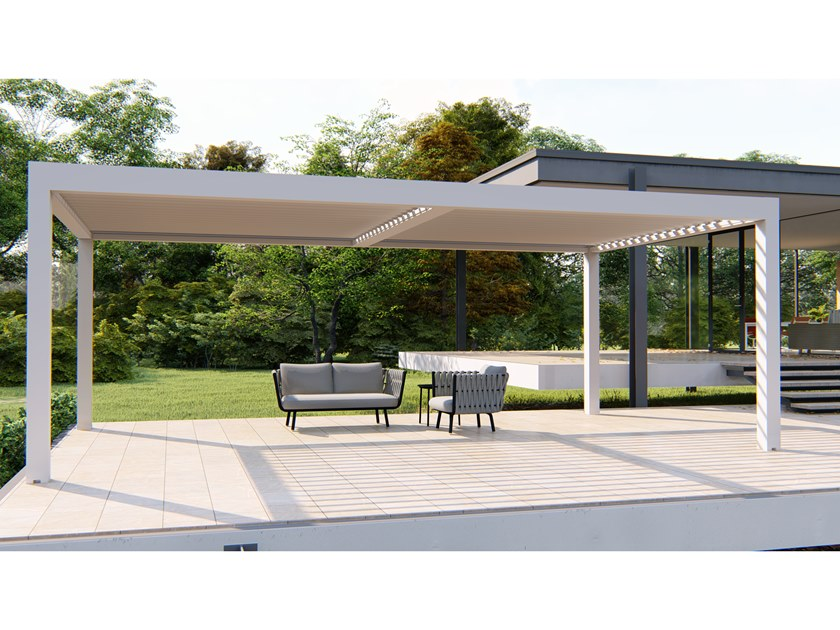 Motorized aluminium pergola with adjustable louvers with built-in lights CLIMAX BIG by RGM