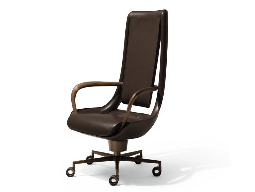 Executive chair with 5-spoke base with casters CLIP by GIORGETTI