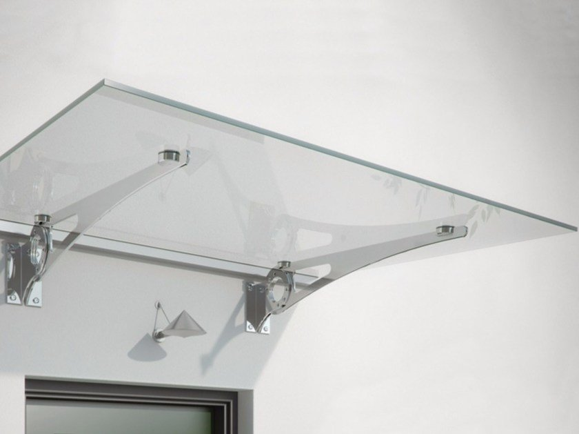Glass and Stainless Steel door canopy CLOCK by FARAONE