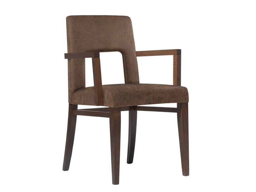 Upholstered open back fabric chair with armrests CLOE SB03 by New Life