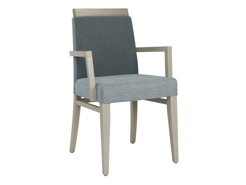 Upholstered fabric chair with armrests CLOE WOOD SB02 by New Life