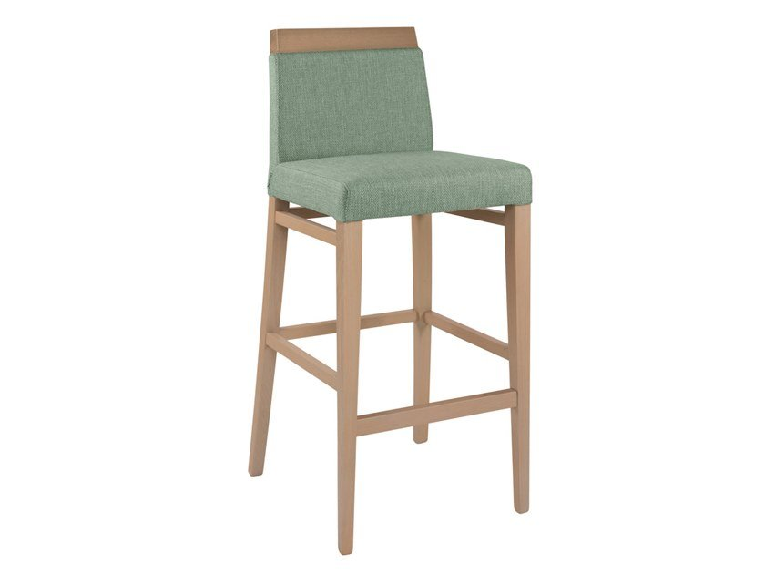 High upholstered fabric stool CLOE WOOD SG02 by New Life