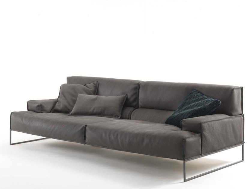 Upholstered 4 seater leather sofa CLOUD | 4 seater sofa by Frigerio Salotti