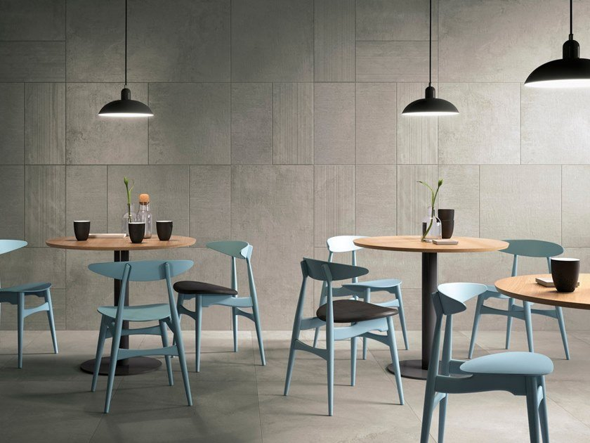 Porcelain stoneware wall/floor tiles with concrete effect with resin effect CLOUDY CORE by GranitiFiandre