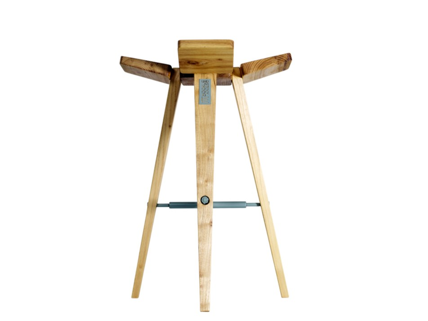 High wooden barstool CLOVER | High stool by HOOKL und STOOL