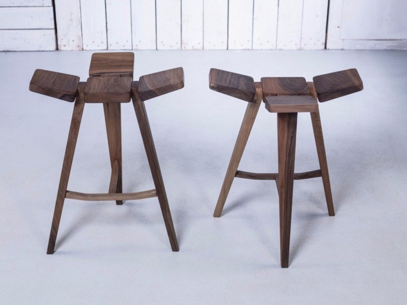 Low wooden barstool CLOVER   Low stool by HOOKL und STOOL