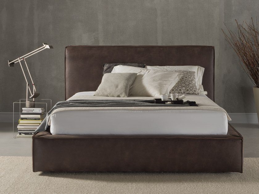 Leather bed double bed with upholstered headboard CLUB by Flexstyle
