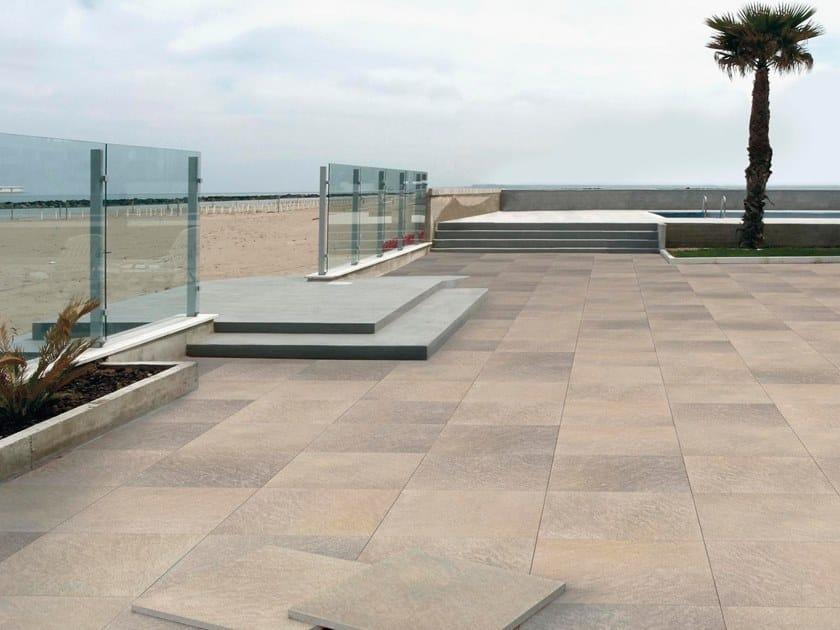 Porcelain stoneware outdoor floor tiles with stone effect CM2 | GREEN QUARZITE by ARIOSTEA