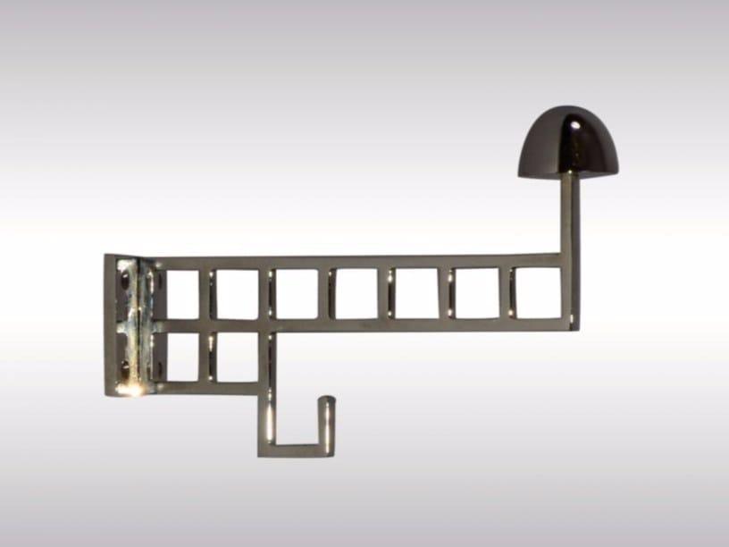 Wall-mounted brass coat rack COAT HOOK - 2 by Woka Lamps Vienna
