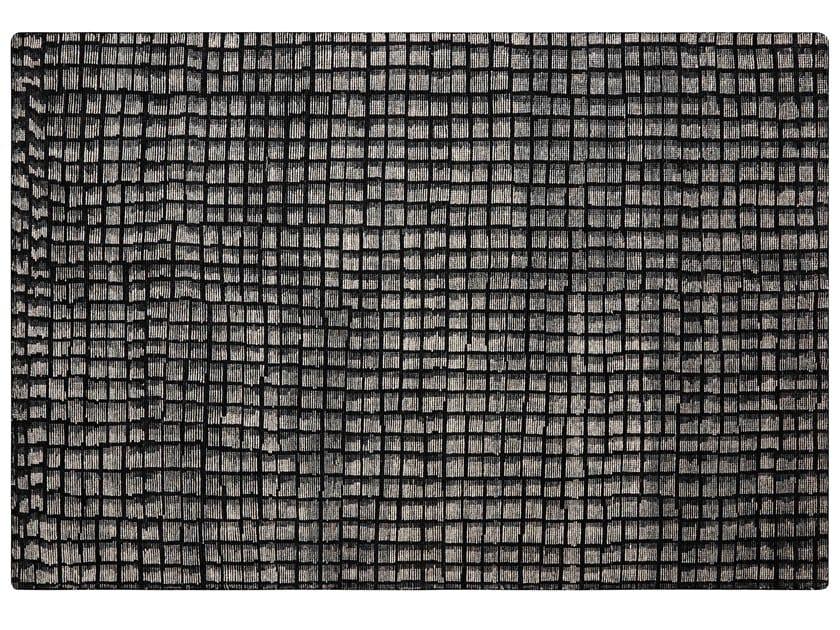 Handmade rectangular wool rug with geometric shapes COBBLE by GAN