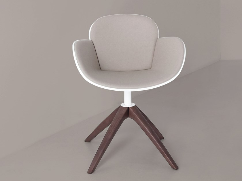 Swivel trestle-based easy chair with armrests COCCOLA WOOD by Casprini