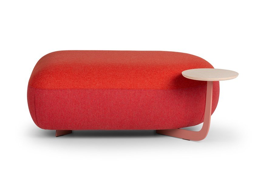 Upholstered rectangular pouf with integrated magazine rack CODE | Rectangular pouf by True Design