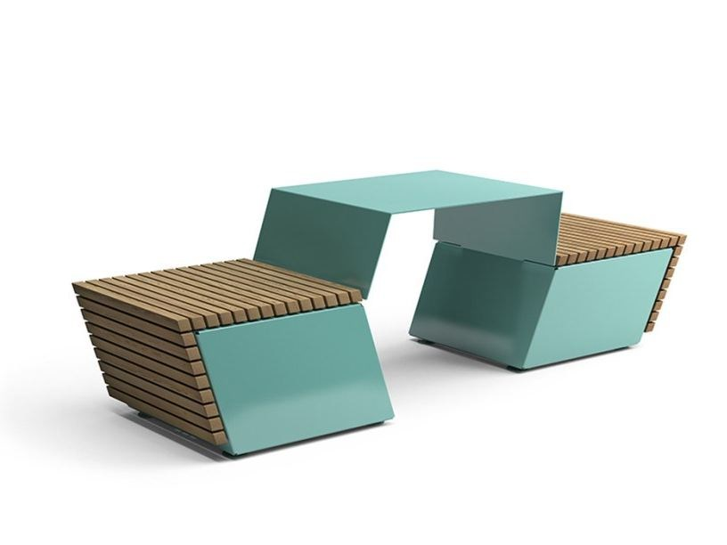 Steel and wood picnic table with integrated benches CODE | Picnic table with integrated benches by VESTRE
