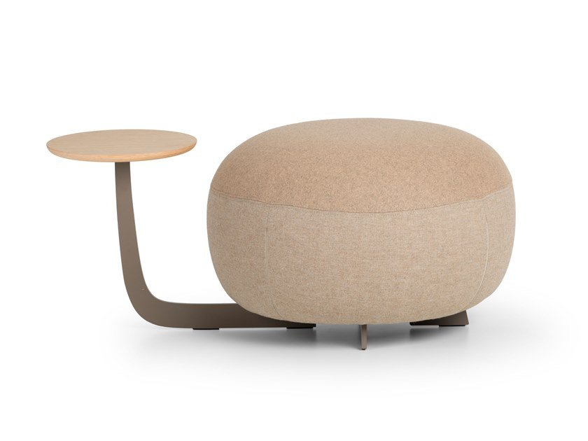 Upholstered round pouf with integrated magazine rack CODE | Pouf with integrated magazine rack by True Design