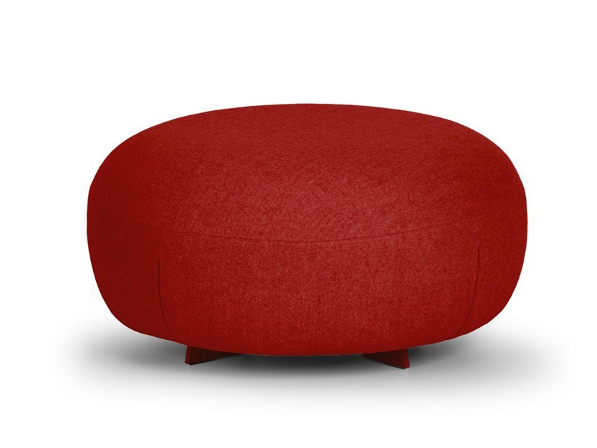Upholstered round pouf CODE | Round pouf by True Design