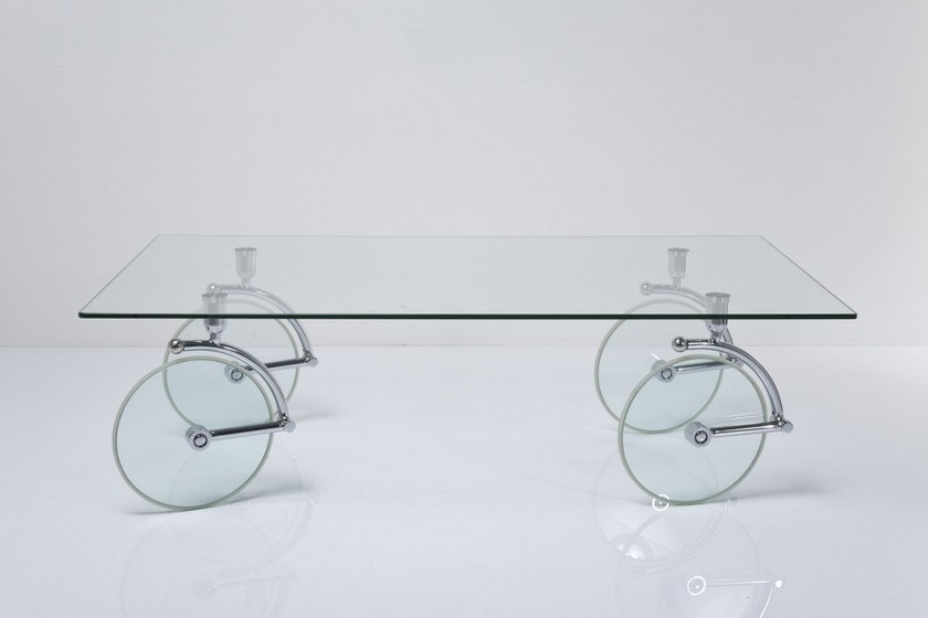 Rectangular glass coffee table with casters COFFEE TABLE By KAREDESIGN