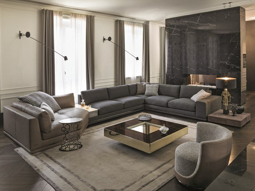 Corner sectional leather sofa COHEN | Sectional sofa by Longhi