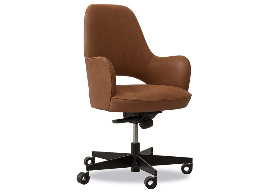 Leather Chair With Armrests Casters Colette Office By Baxter