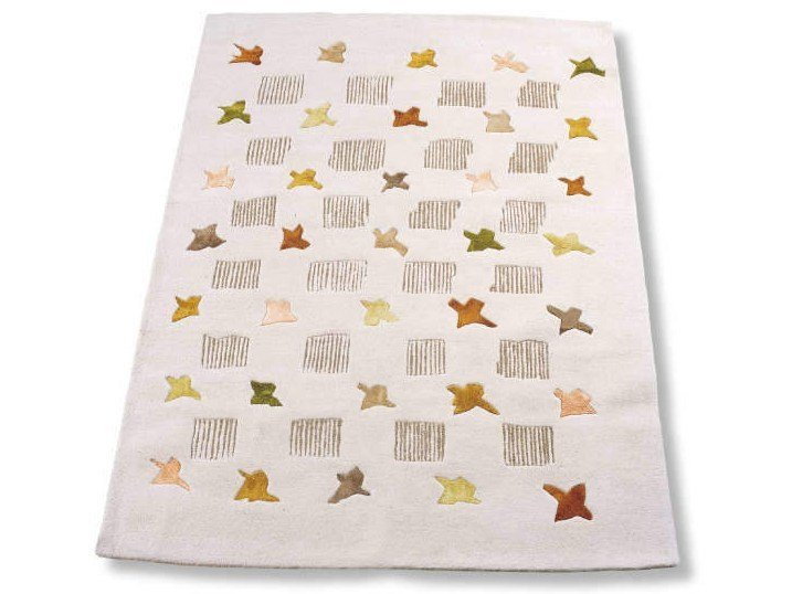 Patterned handmade rectangular rug COLIBRI by Garbarino
