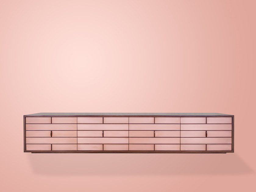 Wood veneer and copper TV cabinet COLIN by IVAR London