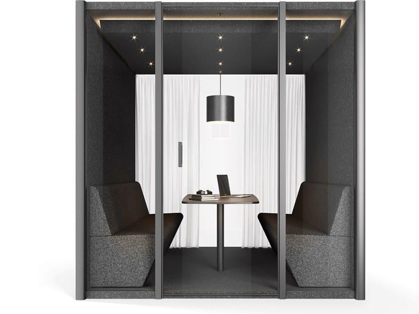 Akustisches Bürokabine mit integrierter Beleuchtung COLLABORATION CUBE by Bosse