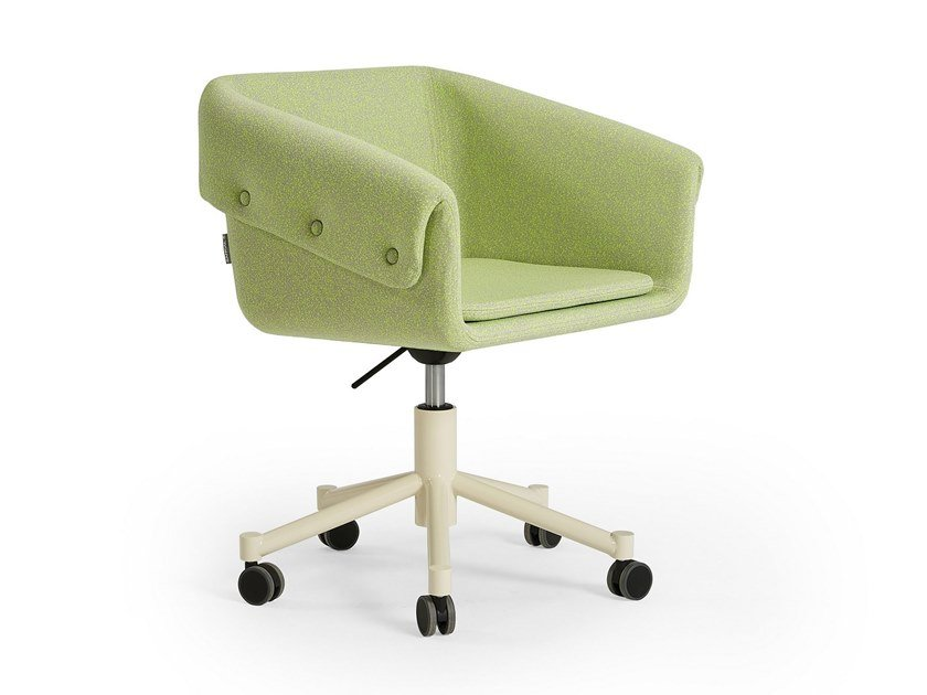 Swivel chair with 5-spoke base with armrests COLLAR | Chair with casters by Sancal