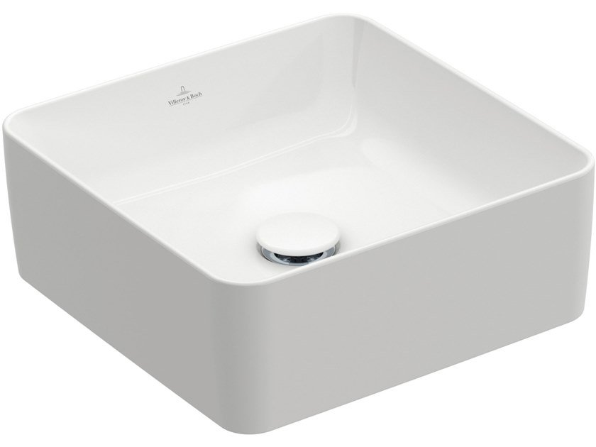 Countertop square TitanCeram washbasin COLLARO | Square washbasin by Villeroy & Boch