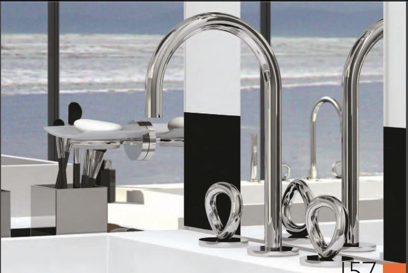 Miscelatore per lavabo a 3 fori in acciaio in stile moderno con aeratore con finitura lucida COLLECTION O | Miscelatore per lavabo by INTERCONTACT