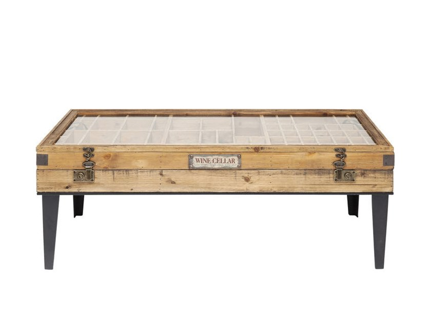 Wood and glass coffee table with storage space COLLECTOR | Coffee table with storage space by KARE-DESIGN